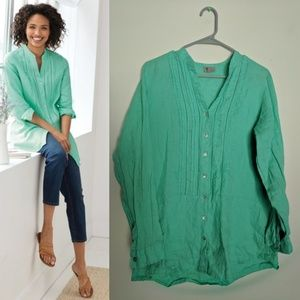 J.Jill Tissue Linen Pintucked Tunic Mint Teal